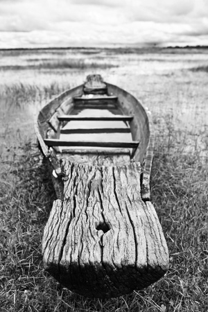 Abandoned wood boat photo