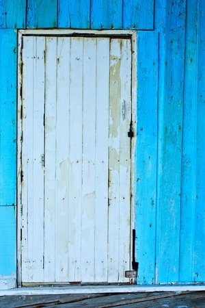 Bright color old wood door photo