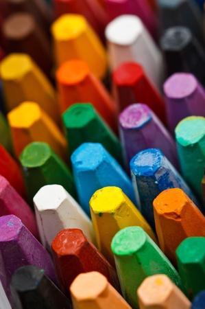 multi coloured: Stack of oil pastels