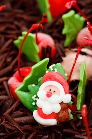 Santa Claus doll on top of iced cake photo