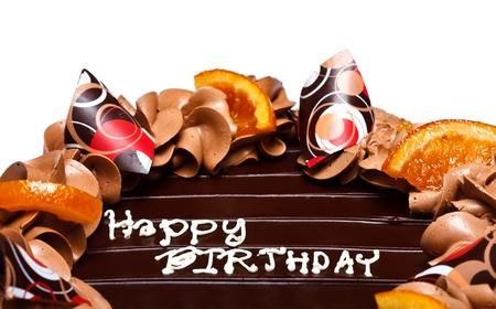 Palabras feliz nacimiento en la parte superior de la torta de cumpleaños Foto de archivo - 11539560
