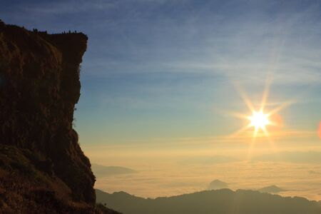 Phu Chi Fah, famous sunrise viewing point of in north of Thailand photo