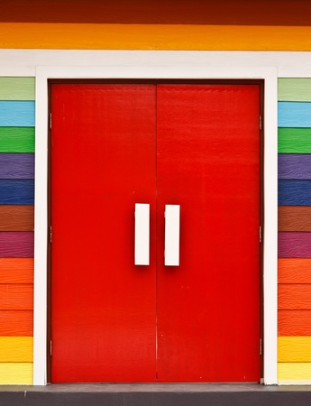 Colorful wood door photo