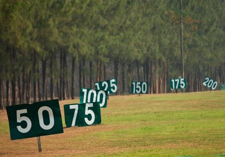 driving range: Yard sign in driving range Stock Photo