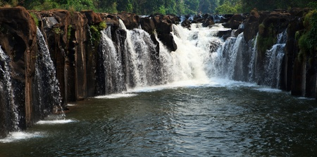 lao: Waterfall in tropical forest