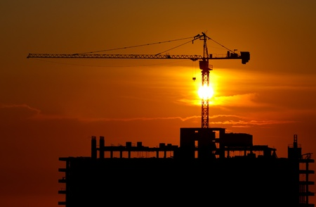 Colorful sky at sunset and construction site Stock Photo - 13189929