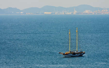 One yatch in sea photo