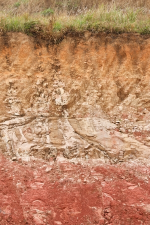 Details of layers of soil under ground surface photo