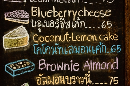 beverage menu: Hand drawing cakd menu in cak shop, Thai and English words