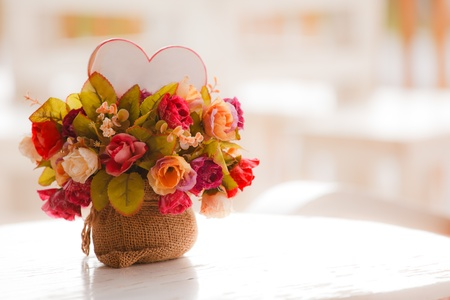 Colorful artificial flowers made from cloth photo