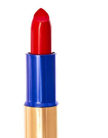 Macro shot of lipstick isolated on white background photo