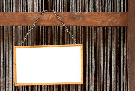 Blank old blackboard label  hanging with metal chain Stock Photo - 13912713