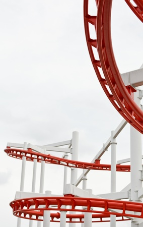 Line of red roller coaster rail Stock Photo