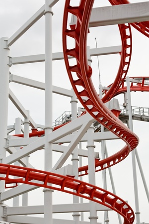 Line of red roller coaster rail Stock Photo - 13912869