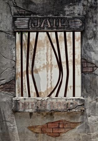 Ventana de la cárcel después de evasión de detenido Foto de archivo