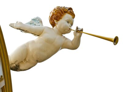 Baby with wings  in Roman style on white background photo