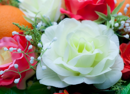 Group of artificial flower made from cloth photo