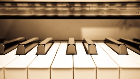Close up shot of piano keyboard photo