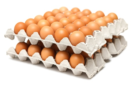 chicken or egg: Group of fresh eggs in pater tray