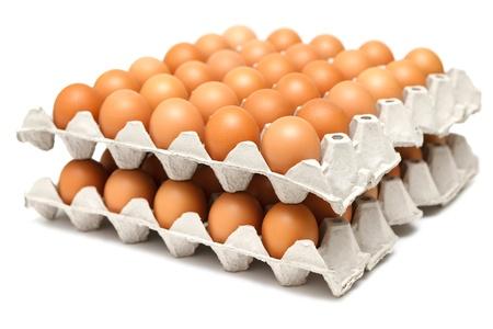 bandejas: Grupo de los huevos frescos en la bandeja del pater Foto de archivo