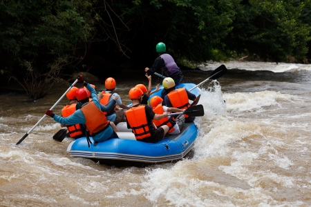 Rafting in Khek river, northern Thailand Stock Photo
