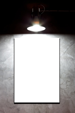 Light on blank board over concrete wall Stock Photo - 14955913