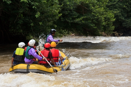Rafting in Khek river, northern Thailand Stock Photo