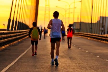 Marathon runners running  in the morning