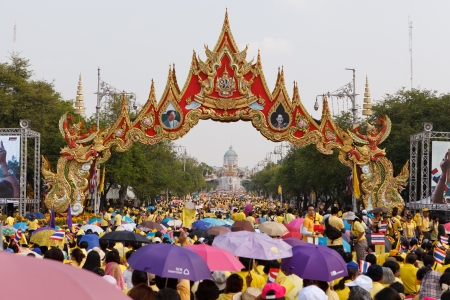 harmonize: BANGKOK, THAILAND - DECEMBER 5  Unidentified Thai people gather together in order to bless the birthday of His Majesty the King on December 5, 2012 in Bangkok, Thailand  Editorial