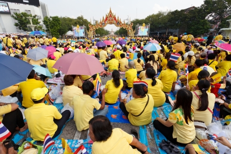 BANGKOK, THAILAND - DECEMBER 5  Unidentified Thai people gather together in order to bless the birthday of His Majesty the King on December 5, 2012 in Bangkok, Thailand  Stock Photo - 17119007