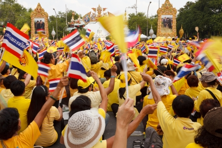 adore: BANGKOK, THAILAND - DECEMBER 5  Unidentified Thai people gather together in order to bless the birthday of His Majesty the King on December 5, 2012 in Bangkok, Thailand  Editorial