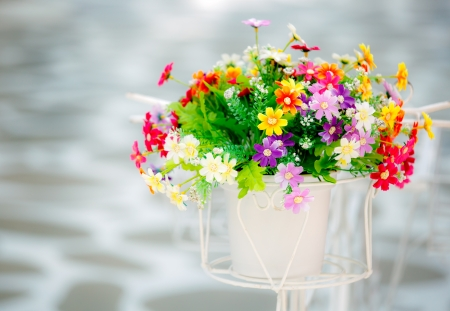 Colorful artificial flowers made from fabric