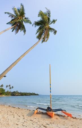 sailer: Sailer on beach and blue sky