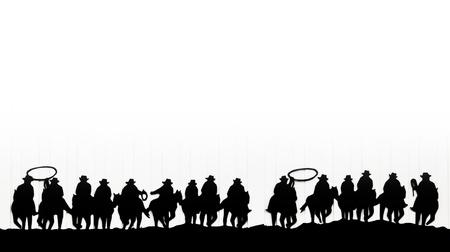 cowboy man: Group of cowboys on horses Stock Photo