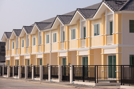 A row of just finished new townhouses