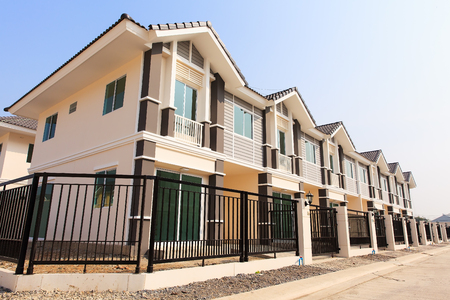 A row of new townhouses ready to sell photo