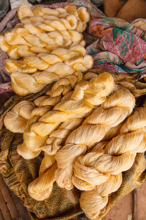 Bright  color of raw silk threads photo