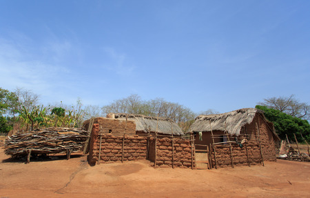 mud house: Clay house in african style, taken in Ghana, West Africa Stock Photo