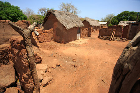 Clay house in african style, taken in Ghana, West Africa photo