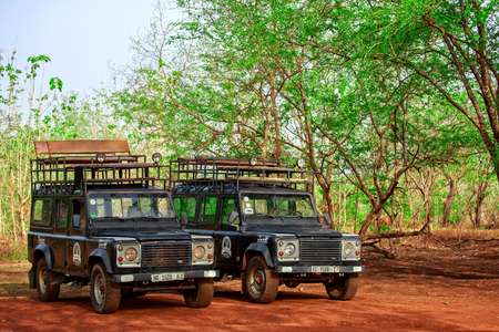 Cars for taking tourists to inside of Mole National Park, Ghana