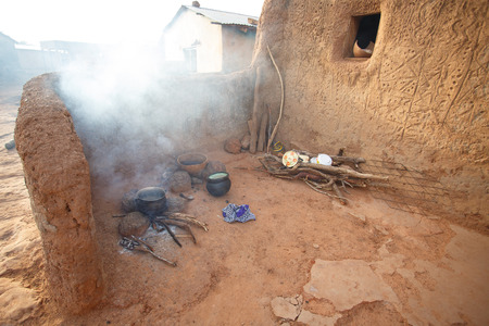Food cooking in native african traditional style, Ghana photo