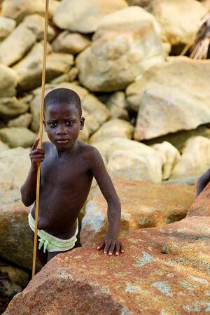 Kid from fisherman village beside see, Ghana, West Africa