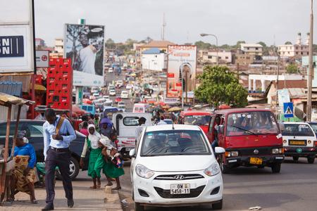 ghana: Road near Nima in Accra, capital city of Ghana Editorial