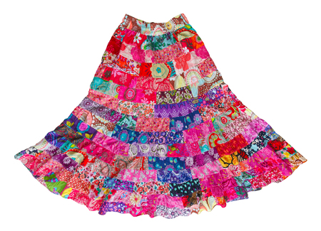 Handmade long woman skirt made from pieces of colorful cloth Stock Photo