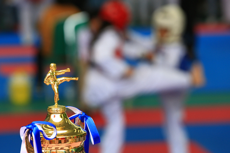 Trophy for Taekwondo contest and athletes fighting in background