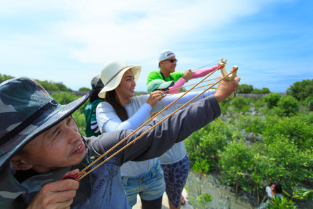 Samutsakorn Thailand, 16 September: Volunteers join together and use catapult to shoot mangrove seeds to mud at far area in mangrove reforestation project on September 16, 2014 in Samutsakorn Thailand.
