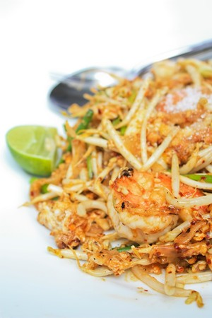 Fried noodle with shrinp Stock Photo