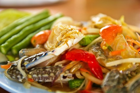 Sea food papaya salad