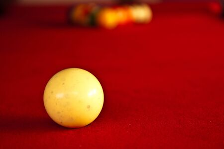 Que ball on pool table photo