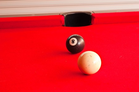 que: Que ball and black ball on pool table